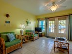 Bright, cheerful colors in this apartment are in perfect harmony with the feel of the Caribbean!