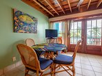 Close up of dining area! The colors are perfectly in tune with the beach and sea!