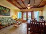 Gorgeous and bright living room with french doors leading to your second floor balcony!