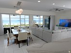 Panoramic views of the beach and sea from the kitchen island.