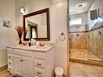 Luxurious master bathroom with large deluxe shower