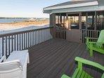 Open deck with furniture overlooking lagoon