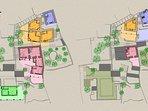 Complesso privato SEDRET SPORADES. Piantine dei piani terra e piani superiori. Zone comuni in verde.