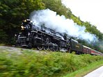 Steam train running the Cuyahoga Valley along the Cuyahoga River