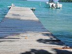 It's fun jumping off the end of the jetty into a deep lagoon.