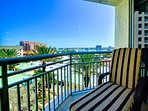 Enjoy beautiful views of Clearwater Harbor from master balcony