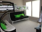 2 pyramid bunks sleeps 6.  Very large walk in closet can fit pack n play