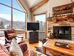 Cuddle up to the cozy gas fireplace while you watch a movie