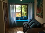 This is the sitting area and front door to the left, and a view to our garden area.