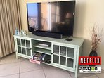 Games, 29' Bluetooth soundbar, 50' TV with cable, DVD player, Netflix, Amazon Prime