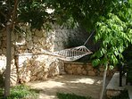 Shaded and secluded hammock on the upper terrace