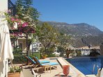 Large sunny pool terrace and garden