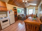 Open Concept at Cedar Shack, Full Kitchen and comfortable Living Room