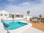 Detached 3 bedroom, sleeps 6, with heated pool, panoramic sea and mountain views.