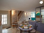 Dining area, traditional stone house, house Tea, Pucisca, Brac Island