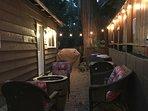 Back patio deck after dark