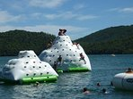 Inflatable climbing frame on St Cassien lake