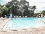Heated community pool (3-6ft.depth) & restaurant located on opposite end of pool. Tranquil waterfall pool side feature.