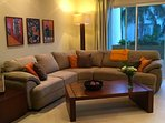 Guests enjoy our comfy sectional sofa and spacious living area.