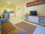 Large 40' HDTV and comfortable sofa to enjoy the entertainment including Satellite TV