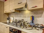 our main kitchen, with high quality cookware and cutlery