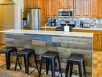 Breakfast bar with seating for four