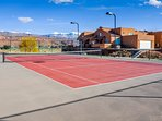 Community area, with basketball and tennis courts and pool and spa