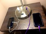 All table lamps have USB port and outlet