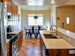 Kitchen and dining room, with modern amenities