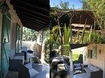 Diverses photos de la terrasse « Amazone » un espace verdoyant totalement dépaysant à côté du BBQ.