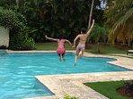 Fun in the villa pool !