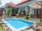 Modern bohemian inspired Balinese villa in the center of Canggu, only a 2 minute walk to Berawa Beac