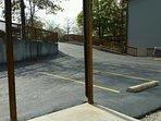 parking lot, park next to the unit