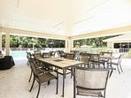 Plenty of seating for dining poolside at the 2 Briarwood community pools