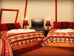 Teepees have either 2 or 3 queen sized beds per TeePee. Check de