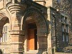 The fabulous castle has a majestic communal entrance