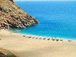 Zorkos beach, a famous beach of Andros.