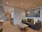 Wohnzimmer Appartement Modern Alps. Mehrere Appartements finden sie auf www.narzenhof.at