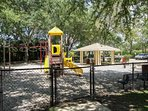 Community playground with covered picnic area.