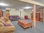 The basement provides an array of sleeping arrangements with a twin-over-twin-sized bunk bed, pullout bed and futon bed.