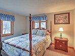 Enjoy great nights of sleep in this comfortable king-sized bed in the master bedroom.
