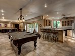 Huge Rec Room, Regulation Billiard Table, HDTV, Full Bar, Full Refrigerator, Ice-Maker, Microwave.