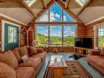 Great Room with  20 ft Cathedral Ceilings, Incredible White Mnt Views and Tiled Floors Radiant Heat