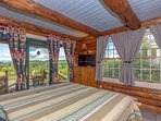Master Bedroom with Queen Bed, 27' Flat Screen TV, French Door to Deck and Superb White Mnt Views