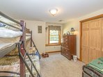 Boys Bedroom:  Walk in Basement, Sleeps 6 with Window & Closet