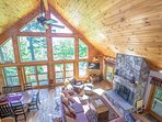 Great Room with 42' Flat Screen TV, Movie Seating for 10+ & Field Stone Fireplace with Mnt Views