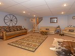 Huge Basement with 55' TV, Movie Seating for 10, 65 Board Games/Puzzles, (Sleeps 3)