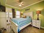 Cozy up in this room with a queen bed