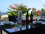 Al fresco dining on the sun terrace