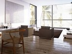 Spacious modern style living room.